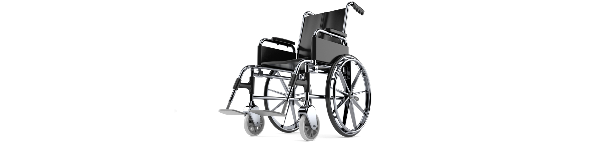 Blue and black foldable lightweight wheelchair on white background